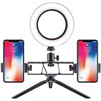 WXQP Anillo de luz LED con 2 Soportes para teléfono Celular, Anillo de luz de Maquillaje Regulable 3 Modos de luz Temperature2700K-6500K para Streaming de Video de Youtube Fotografía Iluminación