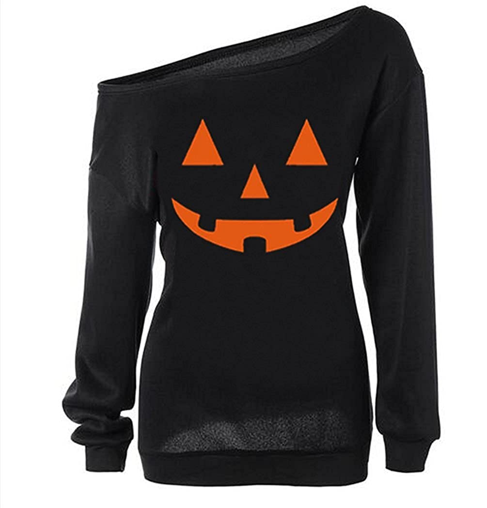 Lyxinpf Halloween Sweater Womens Pumpkin Print Off Shoulder Slouchy Sweatshirts
