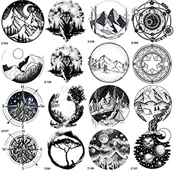 Black Mountain River Geometric Tattoo Stickers Mujeres Body Arm ...