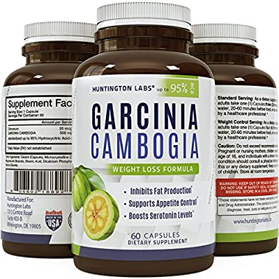 BEST GARCINIA CAMBOGIA Extract - Pure 95 HCA Potent Appetite Control - Weight Loss Fat Burner Supplement - Fast Acting Capsules - Huntington Labs, 60 capsules