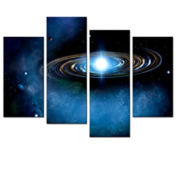 Blue Starry Canvas Wall Art Prints For Living Room Outer Space Planet Picture Decal
