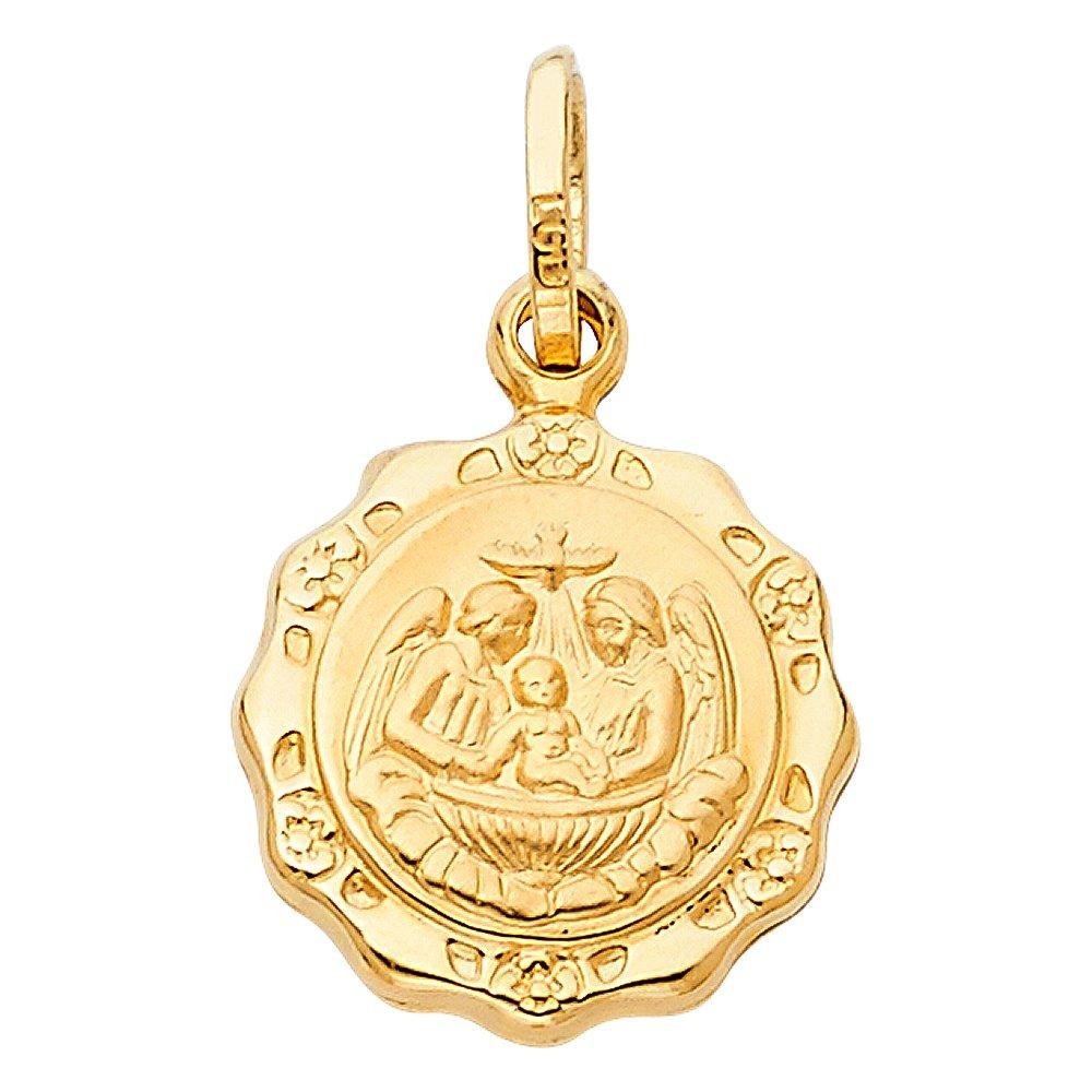 18mm x 15mm Million Charms 14k Yellow Gold Baptism Charm Pendant Big