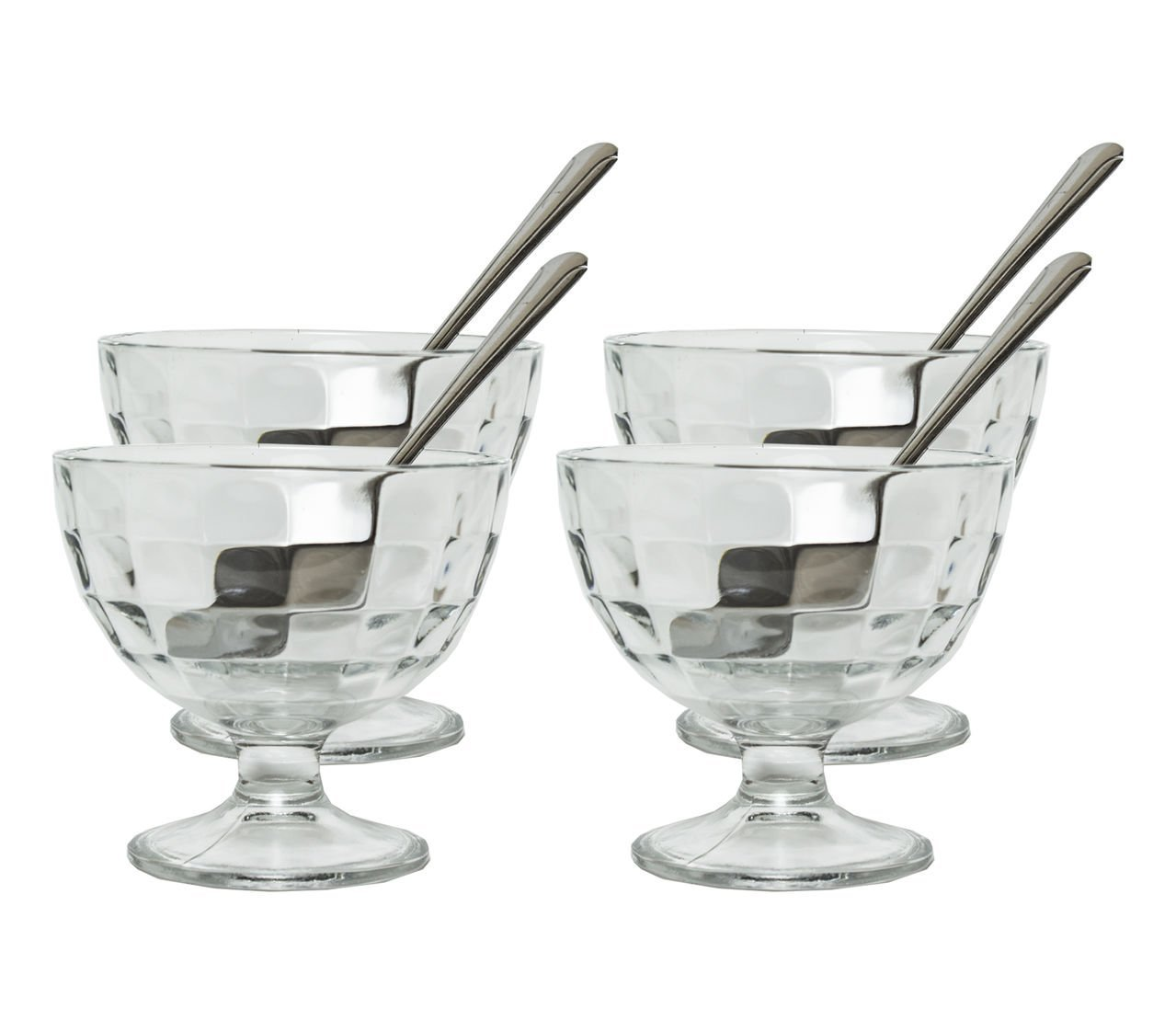 Generic Clear Glass Footed Dessert Bowls with 4 Stainless Steel Spoons