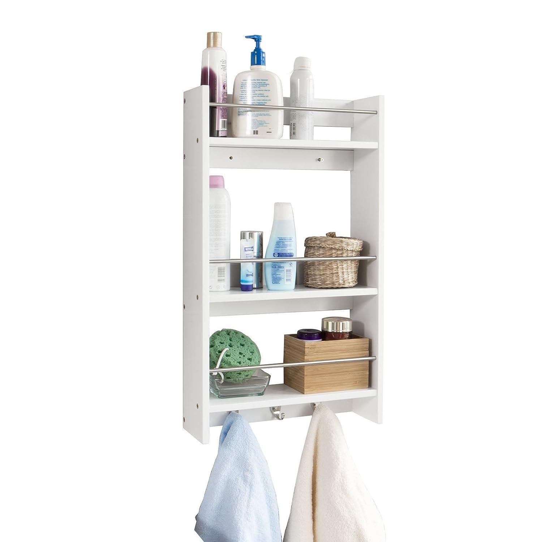 SoBuy FRG33-W, Wall Mounted Cabinet Shelf Rack, Bathroom Kitchen Storage Shelf, 3 Tiers + 3 Hooks, 40x12x70cm, White