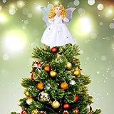 Aytai Mini Angel Christmas Tree Topper, 7 Inch Silver Wings Angel Treetop Xmas Tree Ornament for Christmas Decorations