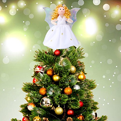 Aytai Mini Angel Christmas Tree Topper, 7 Inch Silver Wings Angel Treetop Xmas Tree Ornament for Christmas Decorations (Tree Simple Angel Topper)