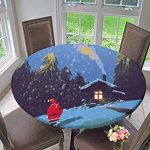 Mikihome Premium Tablecloth Santa Claus Walking to The Surrounded by Pines Everyday Use 63