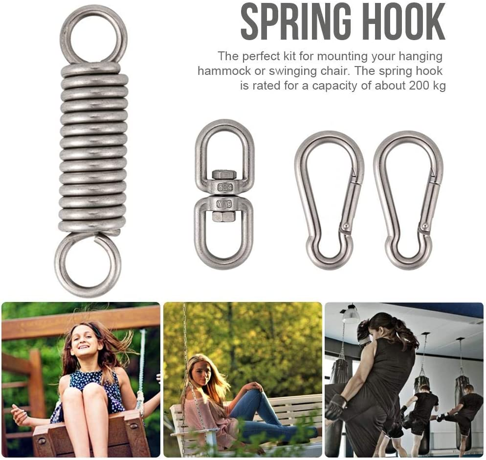 Stainless Steel Outdoor Chair Swing Accessories can Bear 200kg for Hammock Chair Suspension Ultra Strong Spring Hook Set