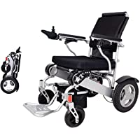 """EBEI Electric Wheelchair Folding Lightweight Deluxe Foldable Power Compact Mobility Aid Wheel Chair Weight Only 50 Lbs with Batteries 12""""Solid Rear Tires More Stable Support 360 Lbs Heavy Duty"""