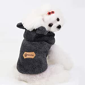 Dolloress Pet Hoodie Coat Dog Jumpsuit Bear Ear Decor Pet Clothes Apparel Costume for Fall Winter Keeping Warm