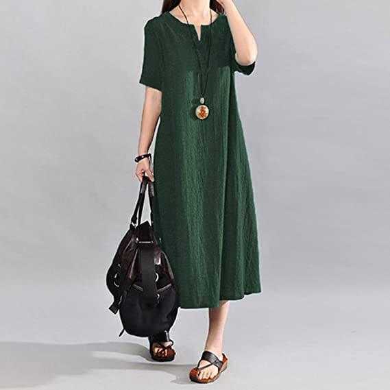 STRIR Vestido Boho de Nueva Mujer Vintage Split Dobladillo Casual Boho Corta Flojo Vestido Largo: Amazon.es: Ropa y accesorios