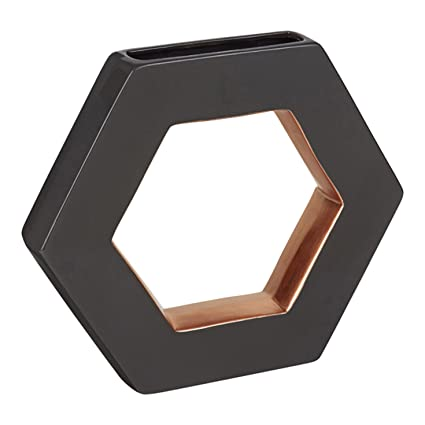 Amazon Floor 9 Ceramic Vase Open Hexagon Dark Grey With