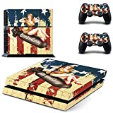 MightySticker® PS4 Designer Skin Game Console + 2 Controller Decal Vinyl Protective Covers Stickers f Sony PlayStation 4 - Miss America Sexy Lady USA Flag Pinup Army Bomber Girl Red High Heels