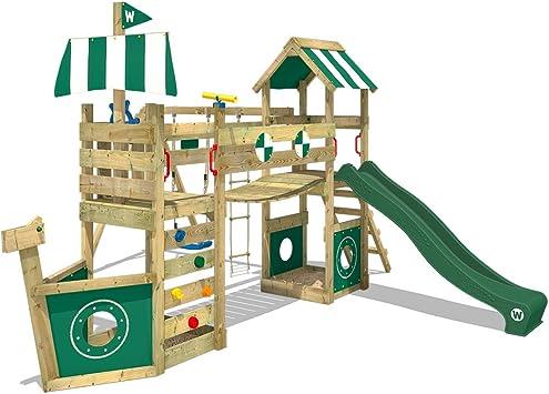 WICKEY Parque infantil de madera StormFlyer con columpio y tobogán verde, Casa de juegos de jardín con arenero y escalera para niños: Amazon.es: Bricolaje y herramientas