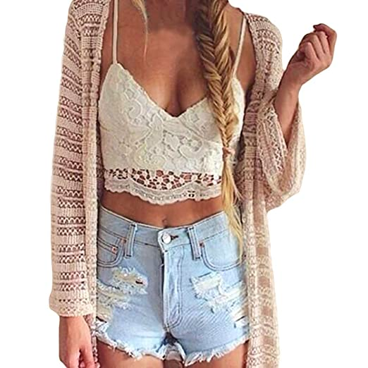 ba9e5f8e38 Amazon.com  ROPALIA Women Crochet Lace Bralette Knit Bra Boho Beach Bikini  Halter Tank Top  Clothing