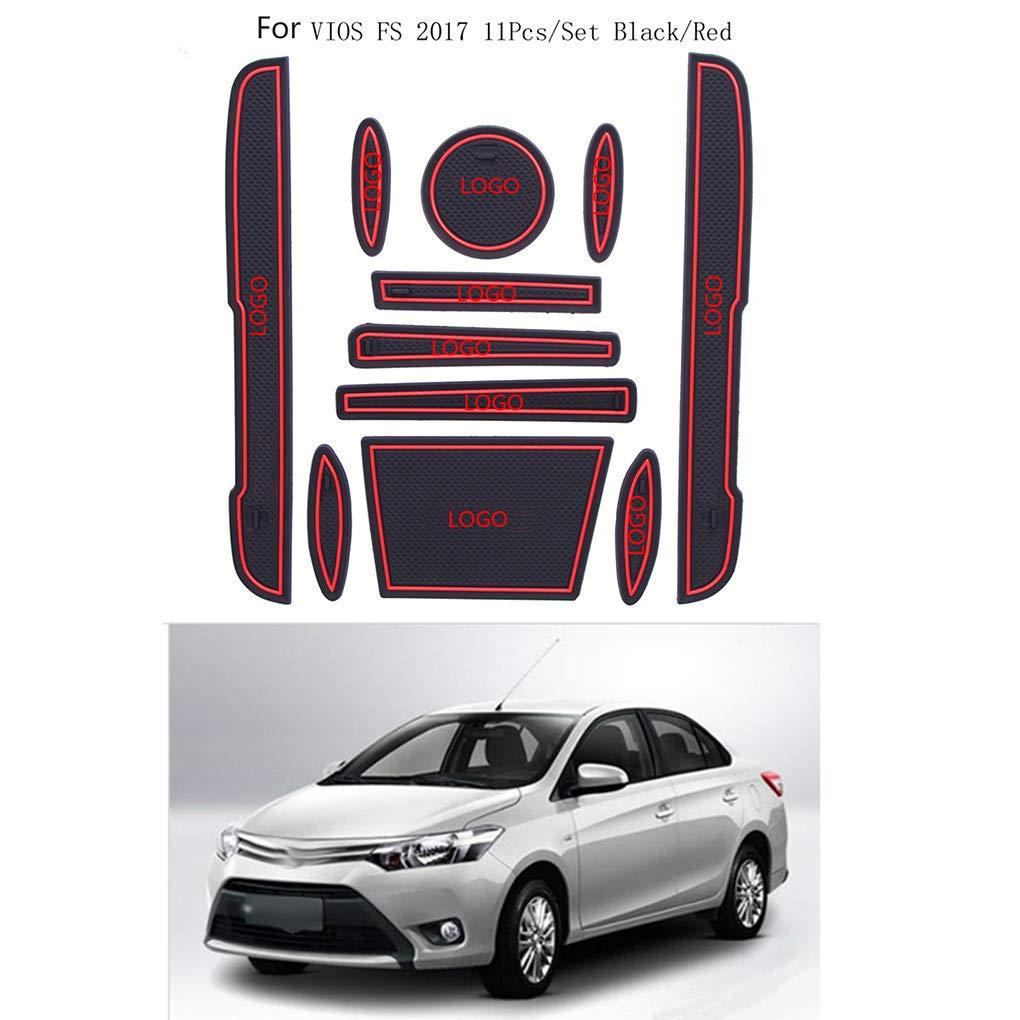 Reemplazo 11pcs para Toyota Vios FS 2017 Ranura Puerta Puerta Antideslizante Estera de la Taza de la decoración Interior Accesorios