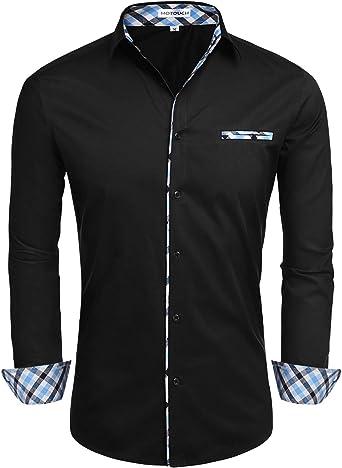 Hotouch Men/'S Fashion Button Up Shirt Slim Fit Dress Shirt Contrast Long Sleeve