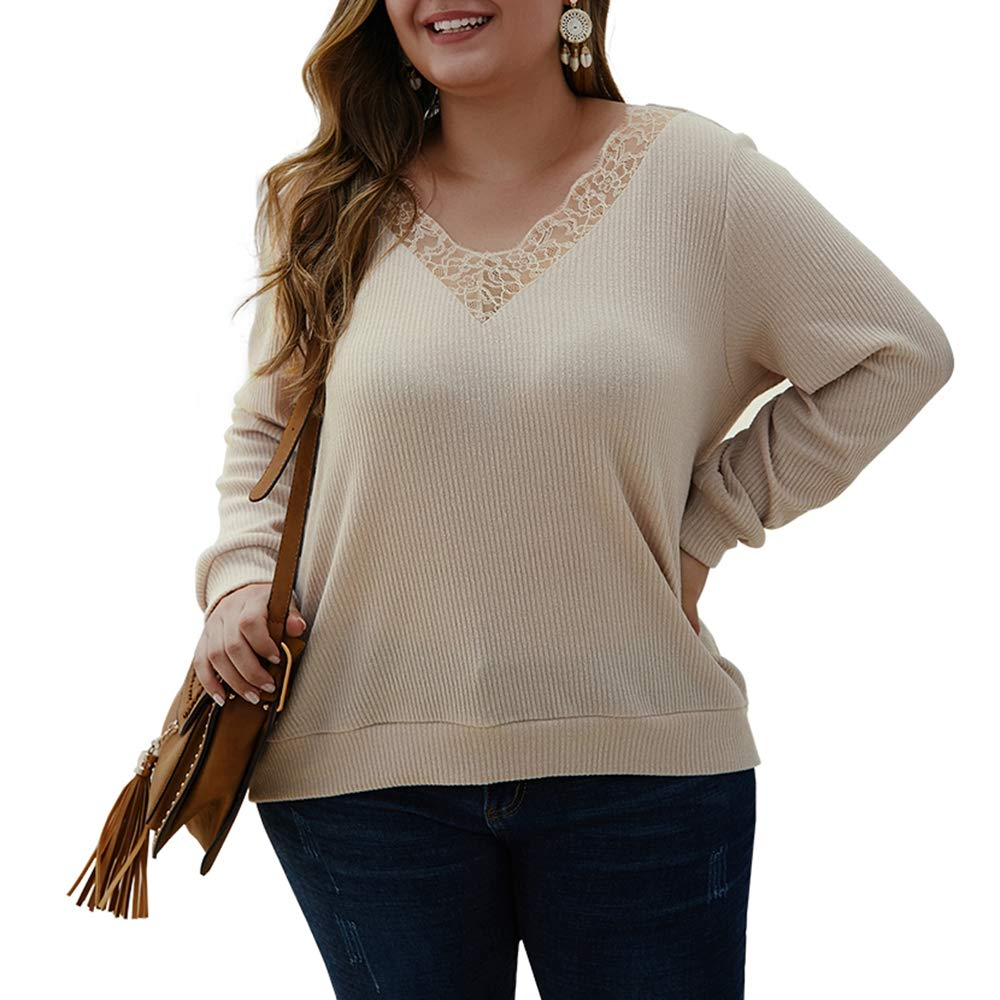 Women's Plus Size Knitwear,Long Sleeve Lace V Neck Lightweight Solid Blouse Tops Pullover Shirts Beige by KINGLEN Womens Top