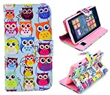 Nokia Lumia 521 N521 Wallet Leather Case,Robot Minions [Cute Owl Lined Up] PU Leather Wallet Flip Kickstand Cover Case For Nokia Lumia 521 N521 [Built-in Card Slots/Cash Pockets]