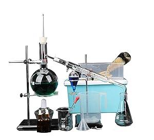 1000ml Essential Oil Distillation Apparatus with Graham Condenser + Heating Kits + Separating Funnel + Storage Box + Flasks etc Lab Glass Distillation Kit Steam Water Distiller Purifier