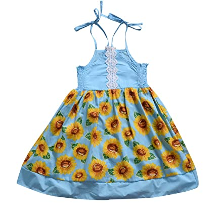ce1754fcca4f9 Amazon.com: Toddler Baby Girl Sling Dresses ❣ Sunflower Print Lace ...