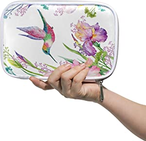 Zipper Pouch Purse Cosmetic Makeup Bag Pencil Case Bulldog Watercolor Iris Flower and Hummingbird Exotic Floral Spring Nature Pen Stationary Bag Glasses Case for Student Boy Girl Home