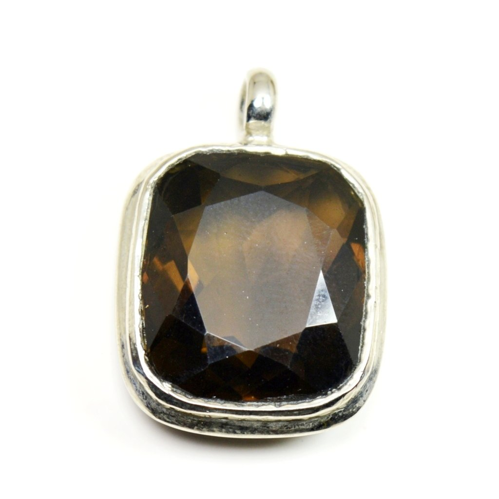 Jewelryonclick Brown Real Smoky Quartz Pendant Cushion Necklace Sterling Silver Fashion Handcrafted Charm
