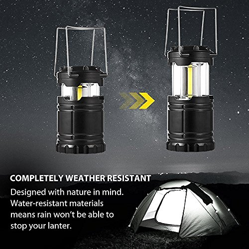 Hurricane Lantern Battery Powered 2 Pack Elekin Camping Lantern COB Led Lantern Survival Kit, Collapsible Outdoor light for Emergency, Hurricane, Storm, Power Outage, AAA Batteries Include(Black) by Elekin (Image #8)