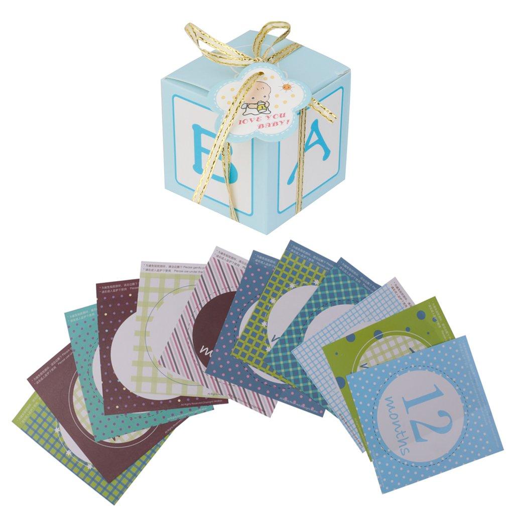 Gazechimp 12 Piezas / Set Mensual Pegatinas de Bebé +12 Piezas Cajas de Papel de Dulces Caramelo Chocolate con Cintas Diseño con Rectángulo: Amazon.es: Bebé