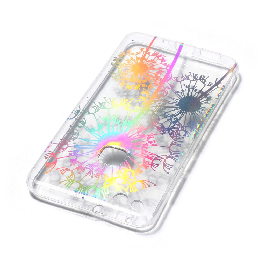 MHHQ Slim Luxury Glitter Sparkle Bling Cute Case con Rave Holographic Laser Brillante Flexible Transparente Crystal Clear Soft TPU Silicone Case Cover para Huawei P10 Lite Funda Huawei P10 Lite 8