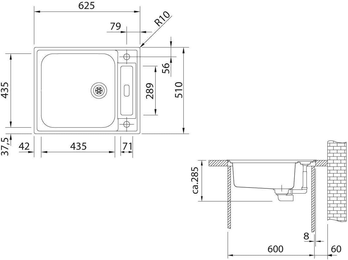 / /Acero inoxidable 127.0197.664 Franke fregadero de cocina Argos AGX 210/g