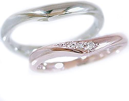Amazon | 結婚指輪 マリッジリング ペアリング ピンクゴールド/ホワイトゴールドk10 ダイヤモンド ペア2本セット | リング 通販