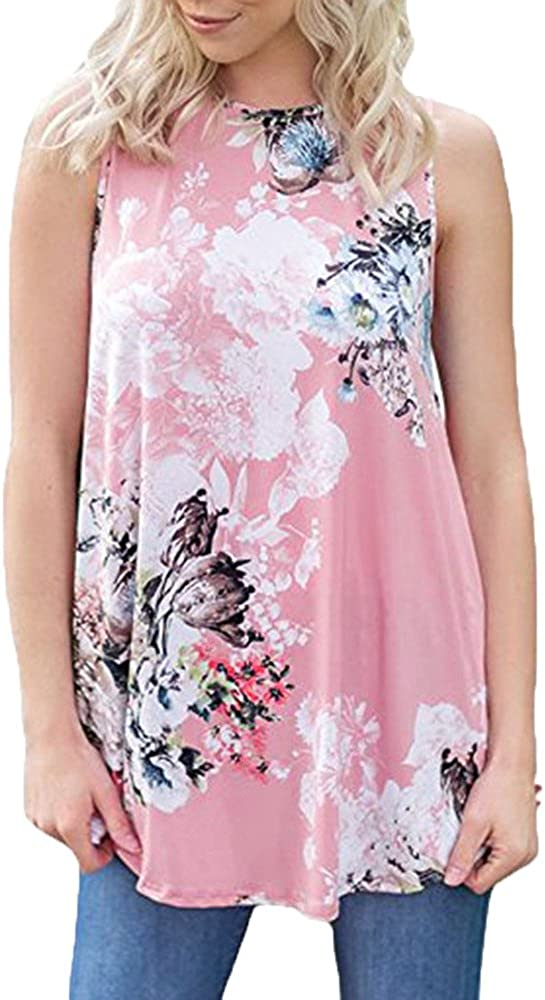 UOKNICE Blouses for Womens Casual Floral Printed Sleeveless Round Neck Vest Pullovers T-shirts Tees Tops