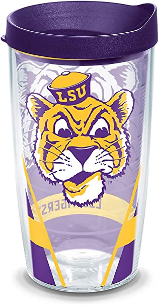 Tervis 1084763 LSU Tigers Colossal Tumbler with Wrap and Yellow Lid 24oz Clear