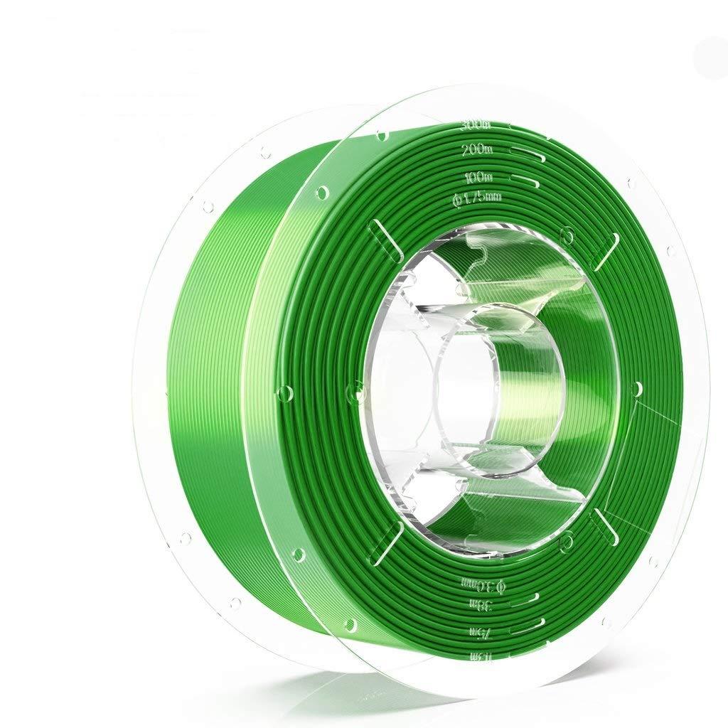 SainSmart PRO-3 Tangle-Free Premium 1.75mm Silk-PLA 3D Printer Filament, Green Silk-PLA, 2.2 LBS (1KG) Spool, Dimensional Accuracy +/- 0.02mm