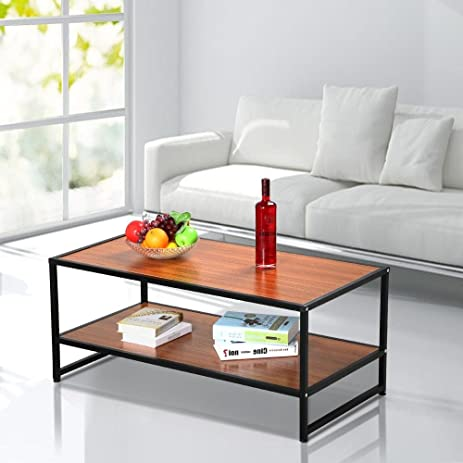 Yaheetech Modern Living Room 2 Shelf/Tier Large Rectangle Wood Coffee Table  Black Metal Legs