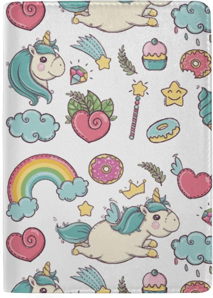 Rainbow Unicorn And Donut Leather Passport Holder Cover Case Blocking Travel Wallet