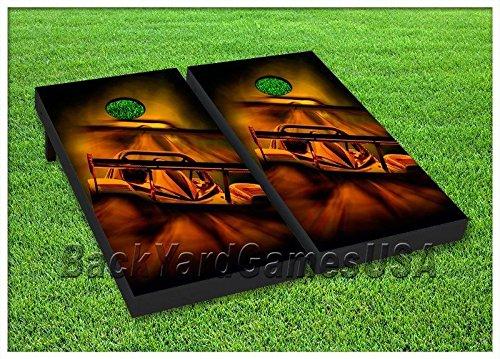 CORNHOLE Set BEANBAG TOSS GAME Race Car Racing Corn Hole Boards w Bags 34