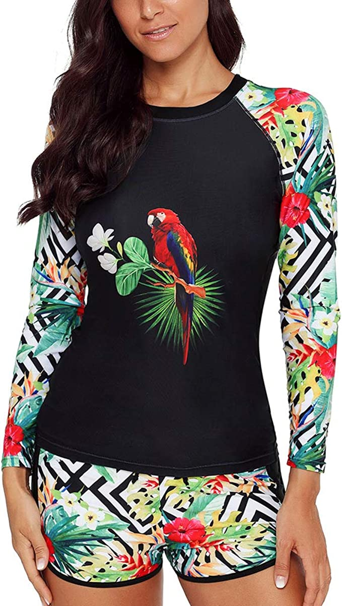 Lus Chic Womens Zip Rash Guard Long Sleeve UV Sun Protection Wetsuit Two Piece Tankini Surfing Swimsuit