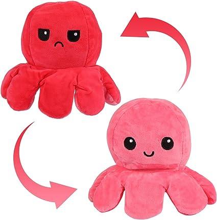 A ANGELABABY Peluche di Polpo Reversibile Giocattoli di Peluche di Polpo Bambola di Polpo a Due Facce Flip Polpo di Octopus Peluche Polpo Giocattolo Regalo per Bambini