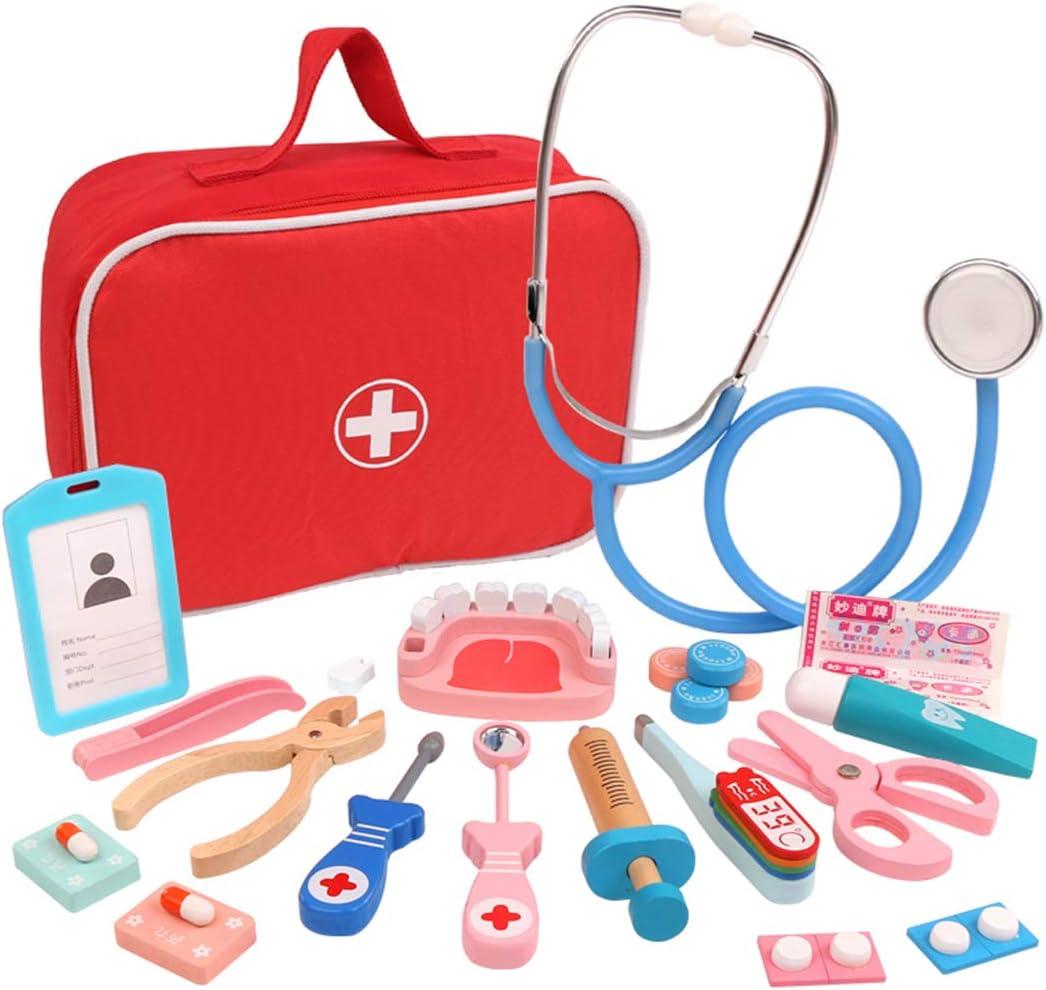 Oeasy 28 Piezas Maletin Medico Juguete Madera, Maletin Doctora Madera Juguetes con Estetoscopio, Juegos de Imitación para Niños Niña