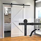 skysen 6.6FT Single Door Sliding Barn Door Hardware Track Kit Black -Step by Step Instruction(I Shape Hanger)