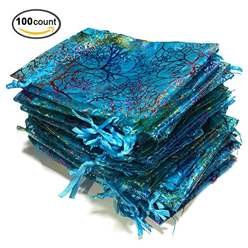 Golvery 100 Blue Organza Gift Bags, Drawstring Pouches for Jewelry, Candy Chocolate Party Wedding Favor