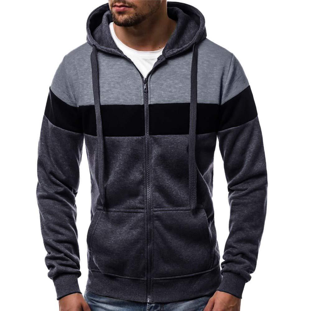 Nihewoo Men Zip Up Hoodie Jackets Fleece Sweater Jumper Oversized Coat Outwear Sport Tops Blouse Junior Pullover Gray by Nihewoo