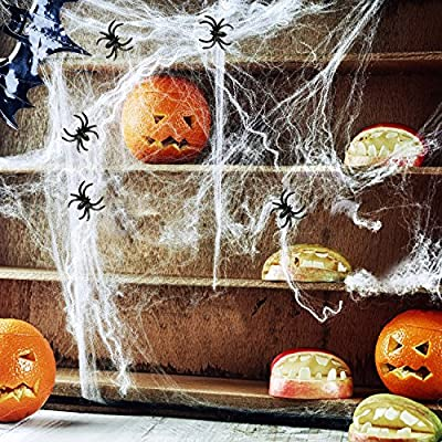 Halloween Stretch Spider Webs Indoor & Outdoor Spooky Spider Webbing with 25 Fake Spiders for Halloween Decorations by AOSTAR by AOSTAR