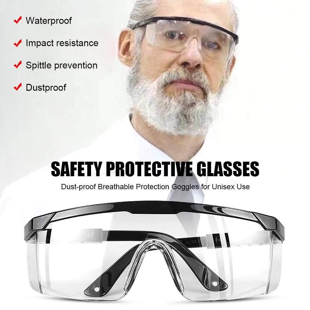 Occhiali di Protezione Antivirus per Anti-UV Sabbia Antivento Virus Traspirante Antipolvere Gocciolina Antispruzzo Uso Unisex Uso Unisex con Gambe A Specchio Ribaltabili
