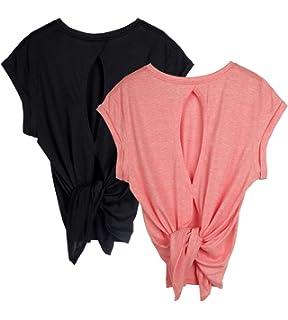 Amazon.com: icyzone Camisetas de entrenamiento de espalda ...