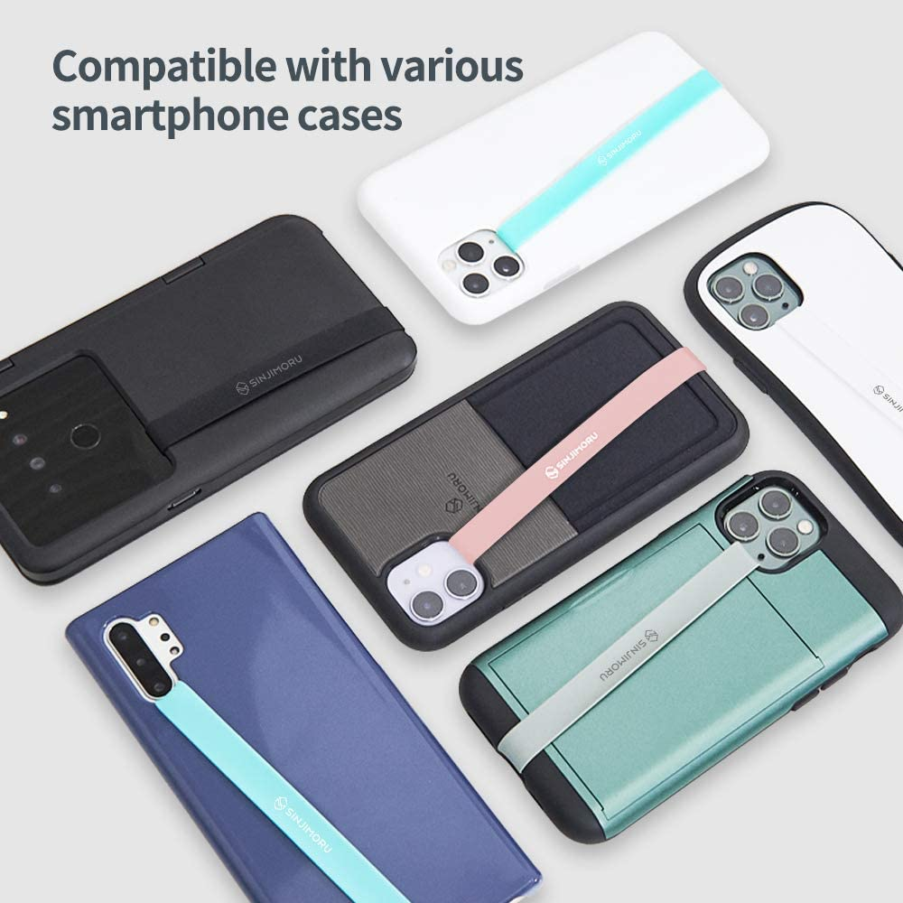 Secure Phone Strap as Cell Phone Holder Slim Grip Tape for iPhone Case Sinjimoru Silicone Stretching Strap as Phone Grip Holder Sinji Loop Black