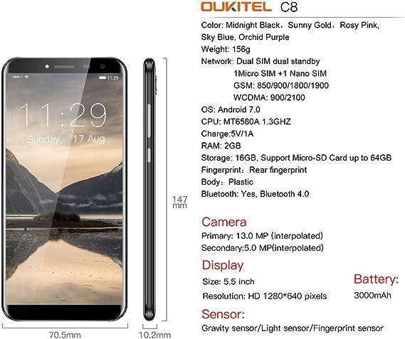 OUKITEL C8 - 4G Smartphone Libre (Pantalla 5,5