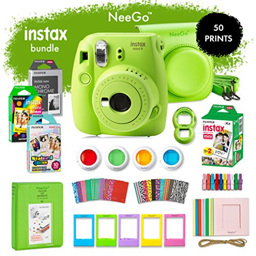 NeeGo Instax Mini 9 Instant Camera Bundle-Deluxe Kit with Camera, Matching Case & 4 Fun Film Packs-Rainbow, Stained Glass, Monochrome & White 50 Exposures for Instant Creative Photos-Lime Green